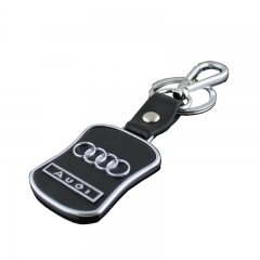 Car Logo Audi Keychain with Black PU Leather in Wholesale