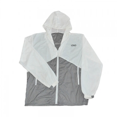 Custom colors jacket , white and gray polyester windbreaker